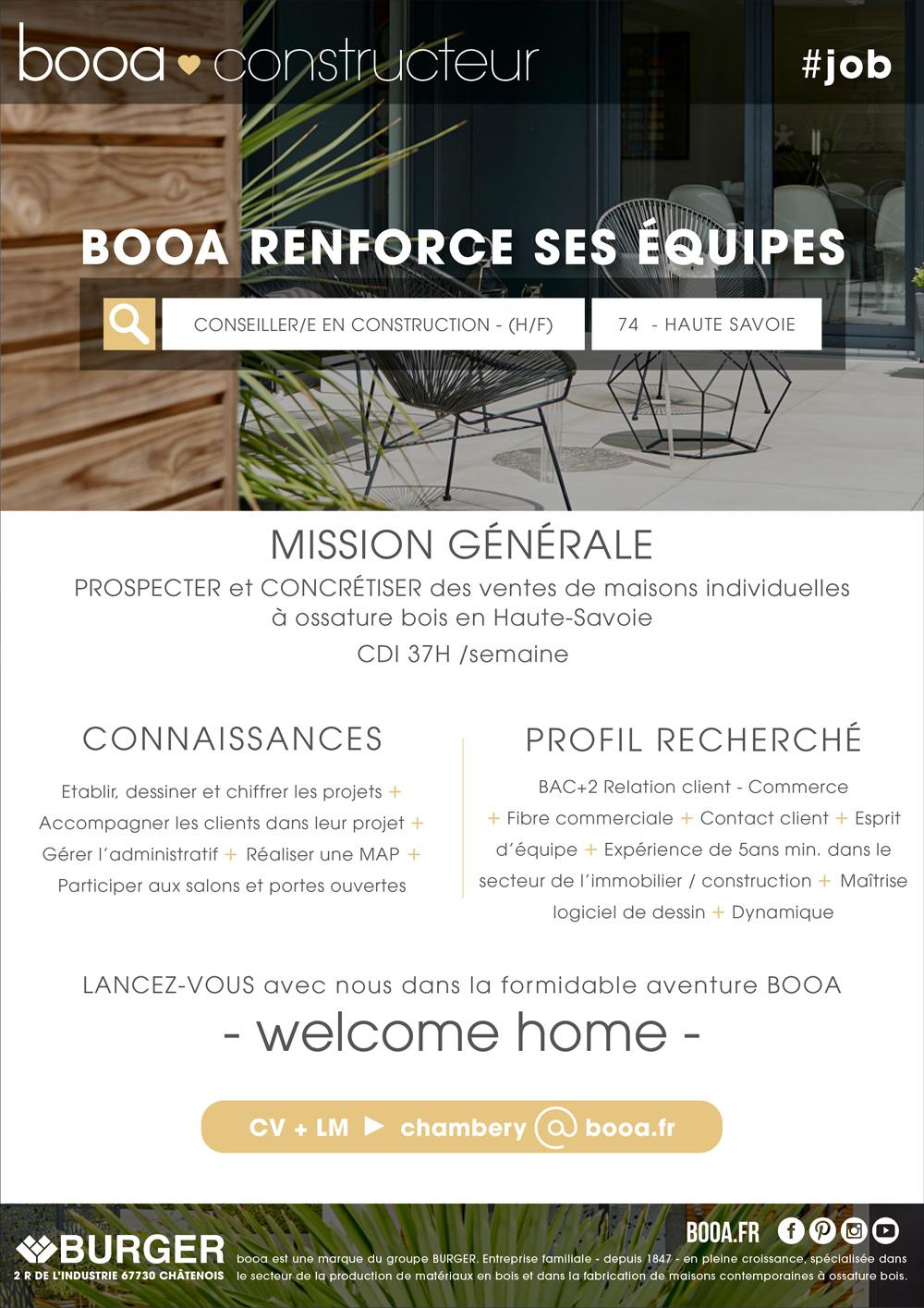 offre d'emploi en Haute-Savoie conseiller-e en construction