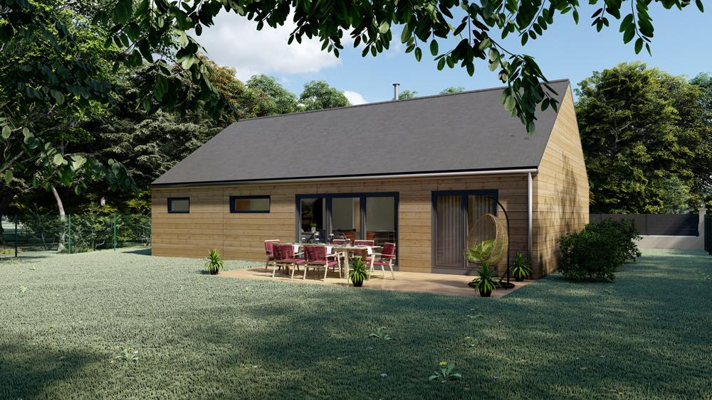 Projet d'une maison ossature bois à toit